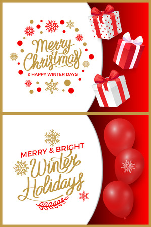 Merry Christmas and happy new year winter sale for customers vector. Boxes with ribbons and wrapping paper having print. Holidays offers and deals