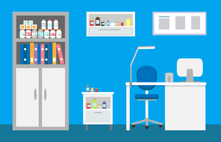 Veterinary clinic interior, animal hospital vet vector. Drawers and bookcase with files of patients and books, bottles with medications and treatments Illustration