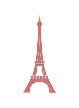 Eiffel Tower travel sticker with famous world sight. Popular European landmark from Paris. Metal construction of France vector illustration isolated. Imagens - 126168729