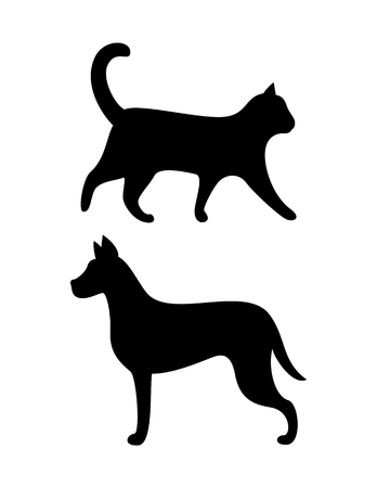Black Dog and Cat Silhouettes Vector Canine Feline Stock Vector - 115396721