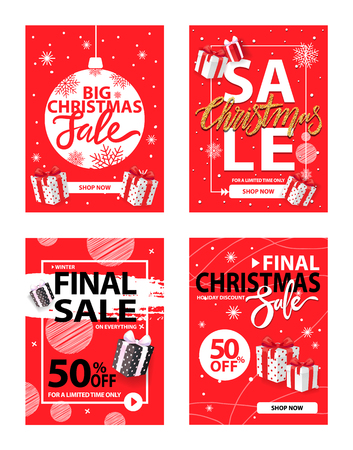 Big Christmas Holiday Sale, Winter Discounts Set