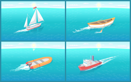 Water transport and wooden rowing boat, set of vessels vector. Ships for transportation of people goods, ferry and sailing vehicle with ribbon on top 일러스트