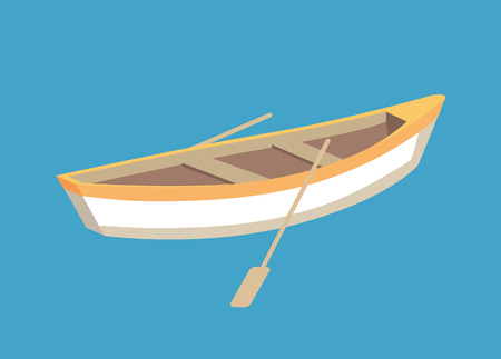 Fishing boat with oars, marine traveling vessel. Fisher ship sailing personal transport, small nautical sailboat vector isolated on blue backdrop