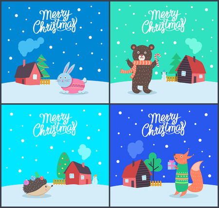 Merry Christmas greeting cards set with text and animals vector. Bear wearing scarf and holding candy, bunny and hedgehog, fox and house with tree Ilustração