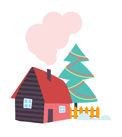 Country House with Chimney, Wooden Fence Vector 일러스트