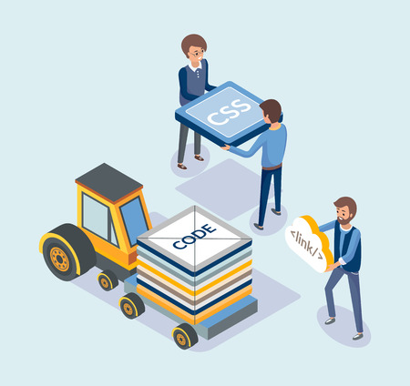 Web development and transport, coding concept vector. People loading vehicle with codes and css language scripts. Optimization and improvement sites