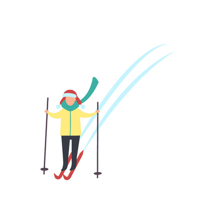 Child skiing down hills with sticks in hands winter sport activity isolated vector. Person in warm clothes goes ski running. Kids recreation at cold weather