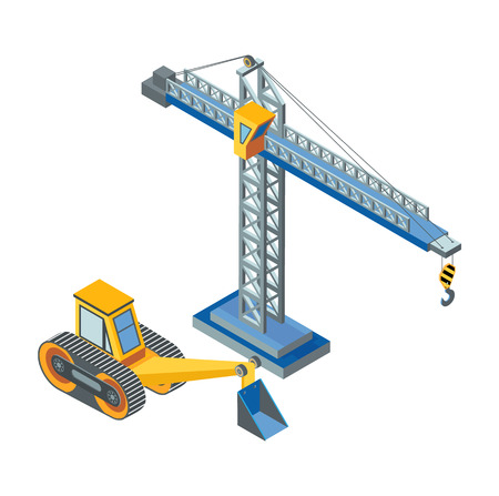 Excavator with Bucket, Lifting Crane Construction Stock fotó - 115396727