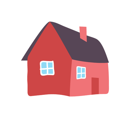 Hand Drawn Country House Chimney Vector Isolated