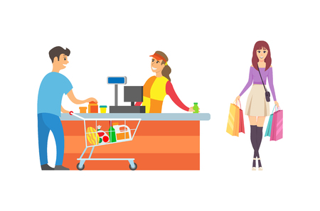 Supermarket cashier and customers of shop vector. Man client with shopping trolley and bought food. Female walking to desk with purchases in bags