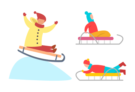 Children sledding down snowy ice slopes vector. Winter activities of kid on vacation, kid wearing warm coat and hat going downhill wintertime fun Illustration