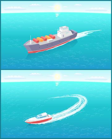 Buque de carga y yate deja rastro en el mar u océano, embarcaciones marinas. Barco de transporte lleno de contenedores de mercancías de exportación, envío y entrega por agua.