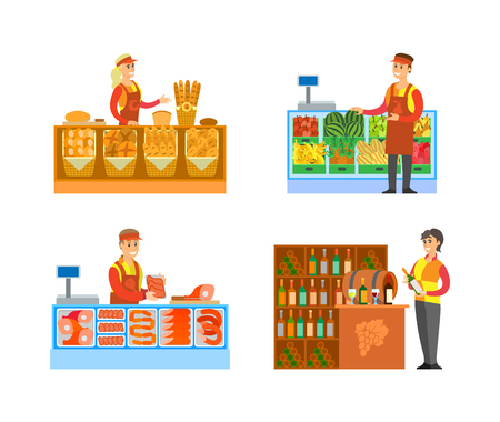 Supermarket stores butchers department with meat and steaks and fruits shop vector. Bakery and winery production, sommelier with wine alcoholic drinks