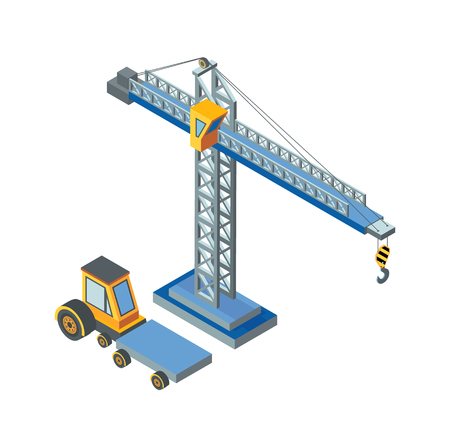 Construction machinery, lifting crane working isolated icon vector. Industry equipment, mechanical devices, automobile with cargo transportation place