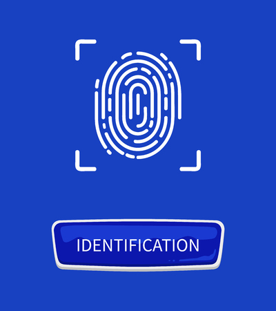 Identification fingerprints poster. Fingermark and thumbprint authorization of unique personal finger pattern of human with print in frame and button