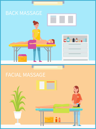 Back and facial massage and procedure set of woman masseuses working with clients and patients lying on table. Cosmetician in salon and masseur vector Çizim