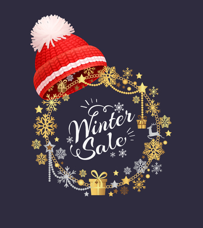 Super sale lettering label with knitted red hat with pom-pom vector. Warm headwear item, winter cloth thick woolen chunky yarn, hand knitting headdress