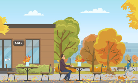 Man drinking tea from cup in empty cafe, autumn season vector. Person walking dog, cat approaching to customer. Building and trees with foliage leaves Banque d'images - 126128282