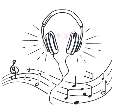 Des écouteurs et des partitions avec des notes, des croquis monochromes décrivent un dessin au trait vectoriel isolé. Écouteur casque avec bandeau réglable, volume audio stéréo