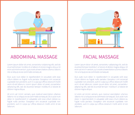 Abdominal and facial medical massage session cartoon posters set with text. Masseur girl in uniform and patient man lying on table relaxed and pleased
