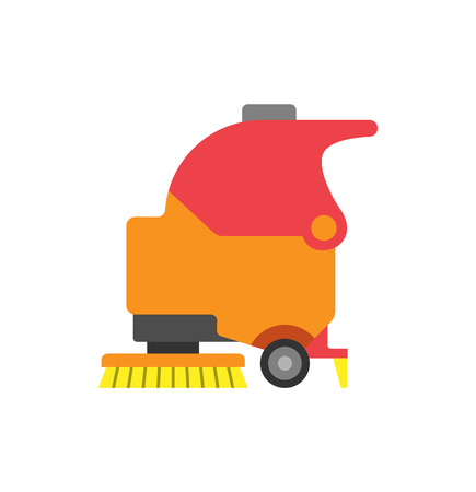 Floor care and cleaning services tool vector icon. Washing machine in supermarket shop store with brush, sterile mop and dust. Shop cleaner equipment
