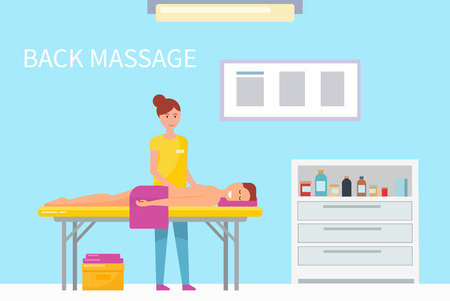 Back massage therapy woman masseuse working with pleasure man relaxing on table vector. Person with towel get professional treatment of specialist