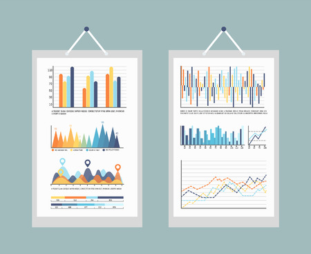 Infographic business charts and graphs with info vector. Information visual representation, diagrams and flowcharts numeric numbers data, statistics 向量圖像