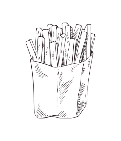 French fries in package sketch monochrome outline icon. Take away food, made of long fried potatoes sticks. American meals in box vector illustration