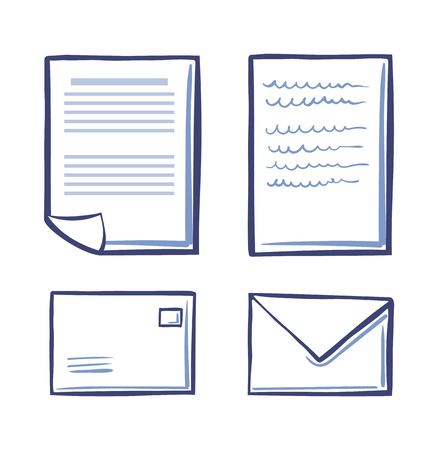 Office Papers and Envelopes Signed Contract Icons Illustration