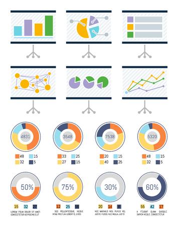 Infografía e infografías en vector de pizarras. Pizarra con gráficos y esquemas, estadísticas y maquetación. Diagramas de pastel de presentación de plan de negocios