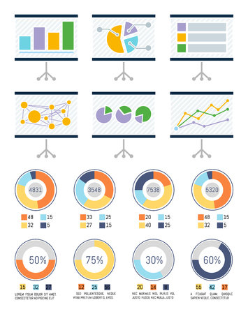 Infographic and infocharts on whiteboards vector. Whiteboard with graphics and schemes, statistics and layout. Business plan presentation pie diagrams 일러스트