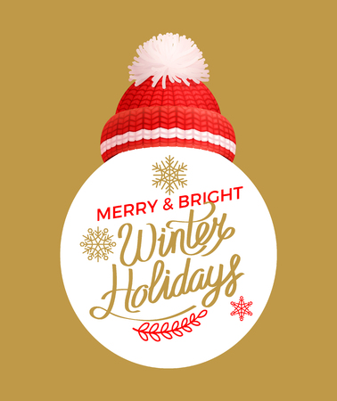 Merry and bright winter days offering, lettering label with knitted red hat vector. Warm headwear item, thick woolen knitted headdress, snowflakes frame