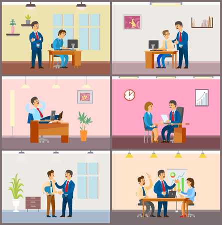Boss employer with woman on interview, team on meeting vector. Teamwork of people brainstorming on solution, break in office, supervisor of novice