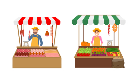 Farmer sellers on market set vector. Isolated icons with vendors in tents kiosks with veggies and meat products. Pork and chicken, pepper and tomatoes Illustration