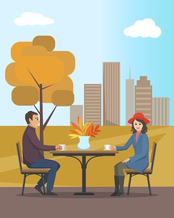 Café dans le parc de la ville d'automne, les amoureux de la vue sur les arbres d'automne et le vecteur de paysage. Femme et homme buvant du thé et du café chaud ensemble Vecteurs