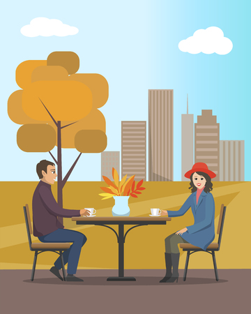 Cafe in autumn city park, people in love enjoying view of autumnal trees and scenery vector. Woman and man drinking tea hot coffee beverage together Stock Illustratie