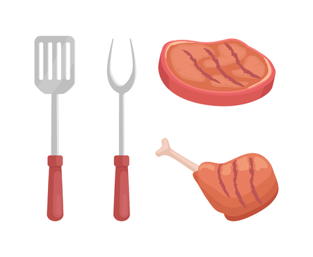 Beef steak roasted meat isolated icons vector. Spatula and fork for barbecue bbq cutlery. Ham and chicken wing cooked on grille, beefsteak illustration