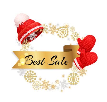 Best Winter Sale Offer Poster Warm Red Hat, Gloves