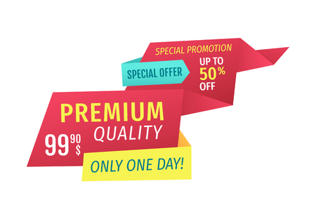 Premium quality only one day special offer promotion from selling store. Save up to 50 dollars with clearance discount. Ribbons isolated on vector