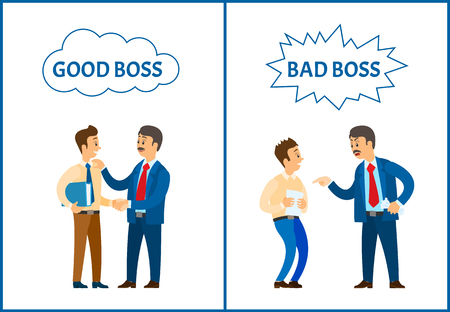Good and bad boss, chief executive at work set of posters vector. Employer with employees, leader handshaking workmate, praising colleague with file Illustration