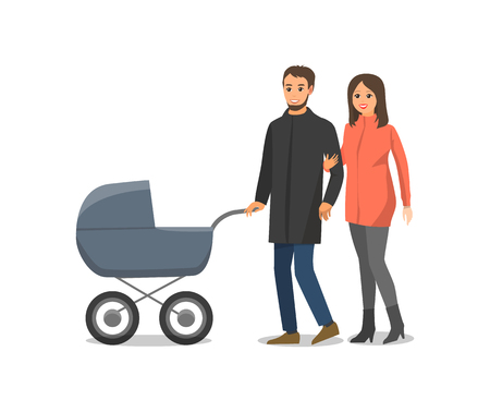 Couple in love family with pram isolated people walking together vector. Male and female having fun outdoor with child, newborn baby in perambulator Vecteurs