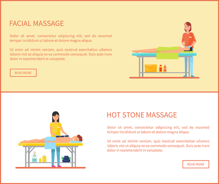 Facial and hot stone massage session cartoon vector banner. Masseur in uniform and rubber gloves massaging lying on table patient covered by towel