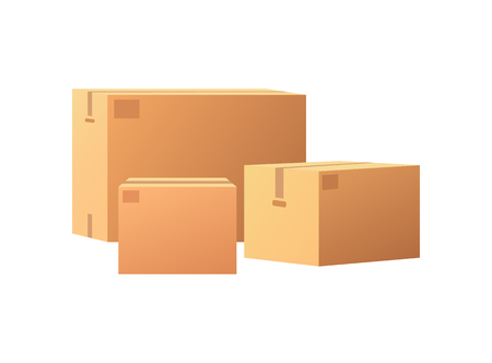 Boxes mockups, post container for goods delivery and storage, packaging design. Parcel with adhesive tape 3D isometric icon vector isolated, closed packages