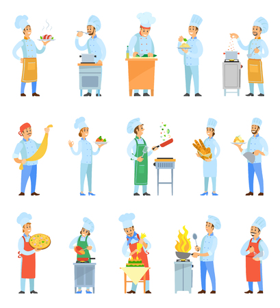 Cook female and male chefs cooking meal in kitchen set vector. Frying and roasting food, making pizza pasta, bread and dessert cakes. Serving plates Stock Illustratie