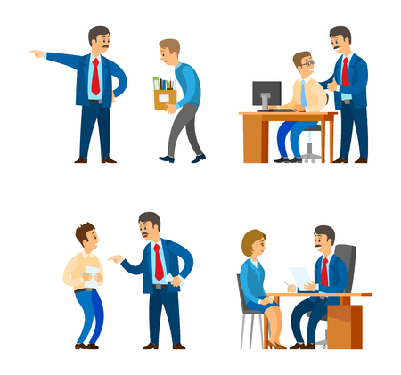 Boss professional director interacting with workers vector. Man leaders of company supervising man, recruitment workers employment and fire, discharge Illustration