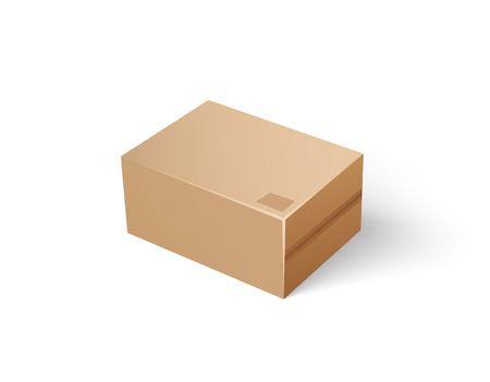 Carton package for keeping things isolated icon vector. Empty sealed cardboard container for storage of goods and products. Sorting of objects inside Illustration