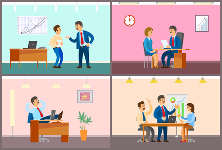 Boss and employees in office, work process. Rebuke for bad job, interview and working break, business meeting with presentation vector illustrations.