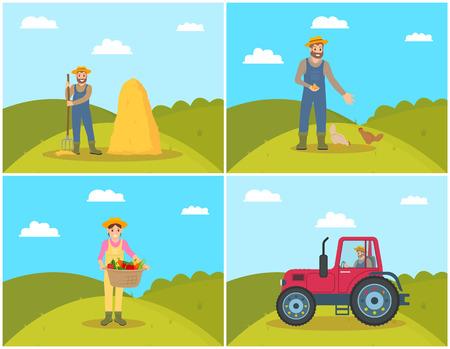 Agriculteur nourrissant des poules d'animaux domestiques sur le terrain de la colline. Tracteur sur terre, agricultrice avec sacoche et légumes récoltés dedans. Fourche à foin et vecteur de balle