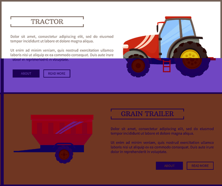Tractor and grain trailer posters set. Machines and automobile for plowing and transporting materials. Agriculture and farming agro devices vector Ilustração