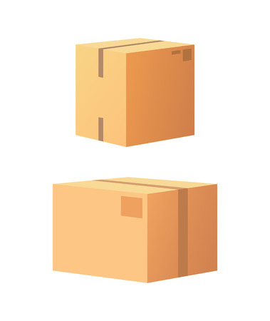 Carton package box with adhesive tape isolated icons vector 3D side view. Containers made of cardboard for product and items transportation, safe storage